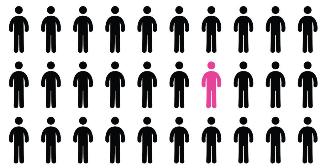 Na sliki figure ljudi, vse črne razen ene, ki je rožnata.